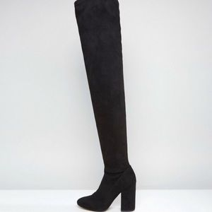 ASOS Katcher Heeled Over the Knee Boots in BLACK NWT